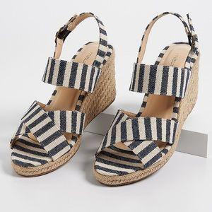 Striped Espadrille Wedge Sandals